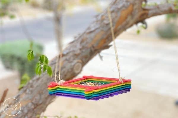 Popsicle Stick Bird Feeder Design in Tree
