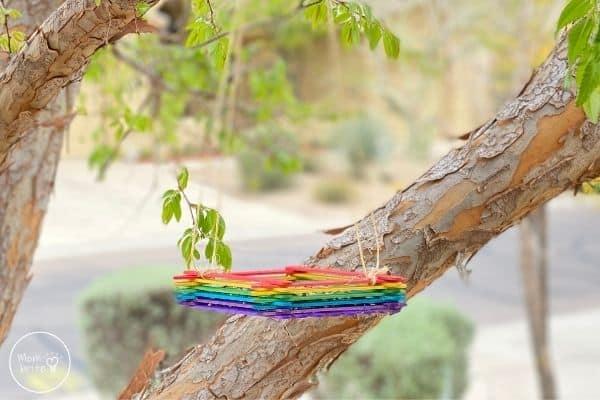 Popsicle Stick Bird Feeder in Tree