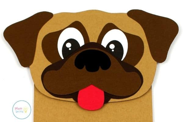 Pug Dog Paper Bag Puppet Craft Closeup