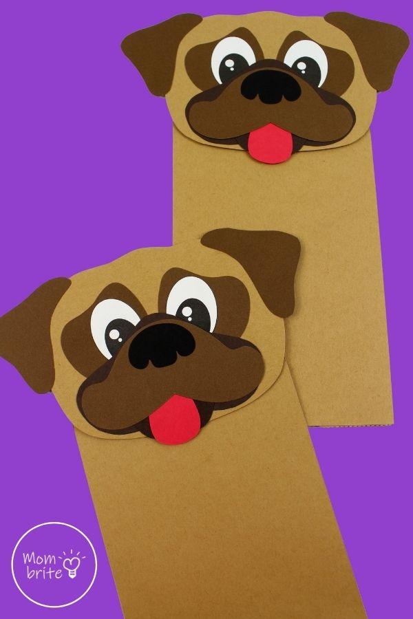 Pug Dog Paper Bag Puppet Craft Pin