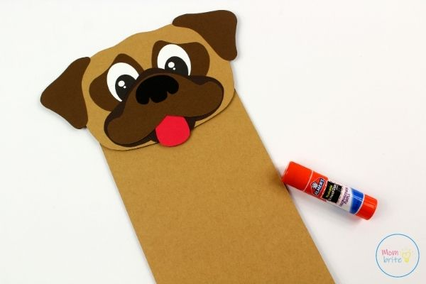 Pug Dog Puppet Craft Glue on Paper Bag