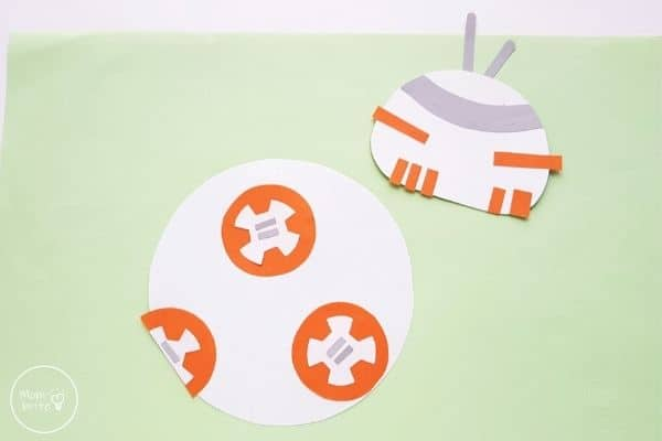 Star Wars Paper Plate BB-8 Craft Glue Panels and Details