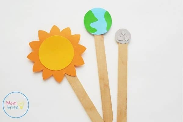Sun Earth Moon Paper Craft Attach Popsicle Stick