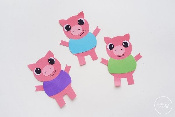 Three Little Pig Finger Puppets Glue Pig Arms