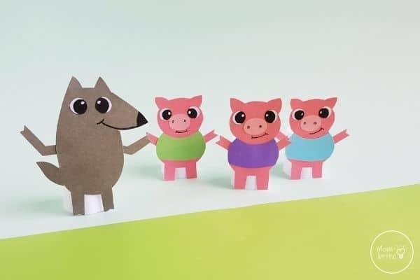 Three Little Pig Finger Puppets Standing