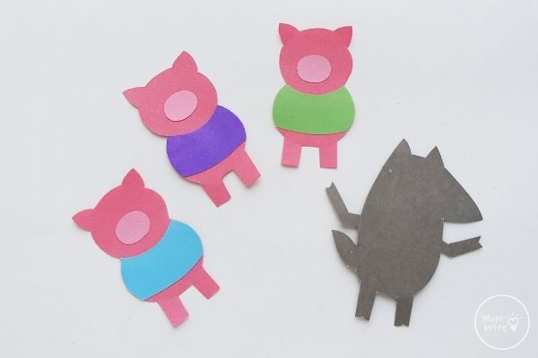 Three Little Pigs Finger Puppets Glue Body Cutouts