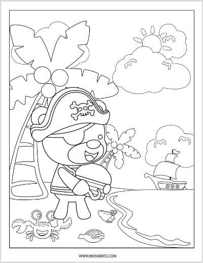 Bear Pirate Coloring Page