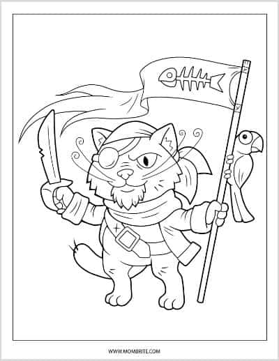 Cat Pirate Coloring Page