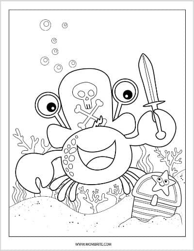 Crab Pirate Coloring Page