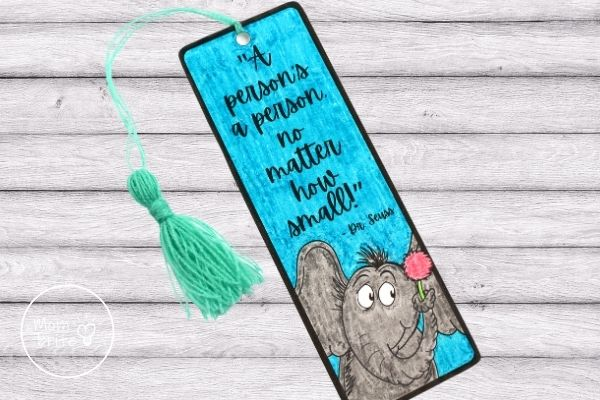 Finished Horton Hears a Who Bookmark with Tassel