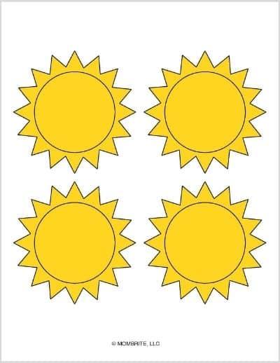 Medium Sun Template Yellow