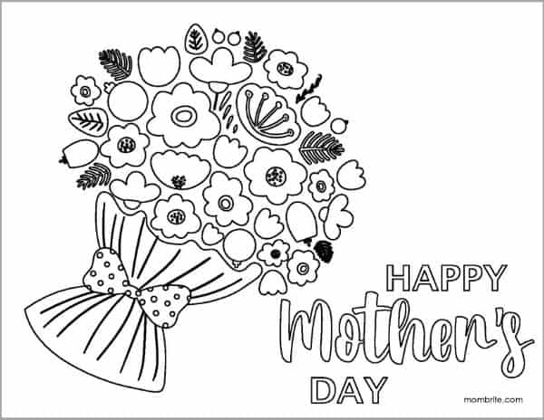 Mother's Day Coloring Page with Big Flower Bouquet