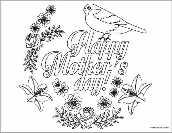 Mother's Day Coloring Page with Bird and Flowers