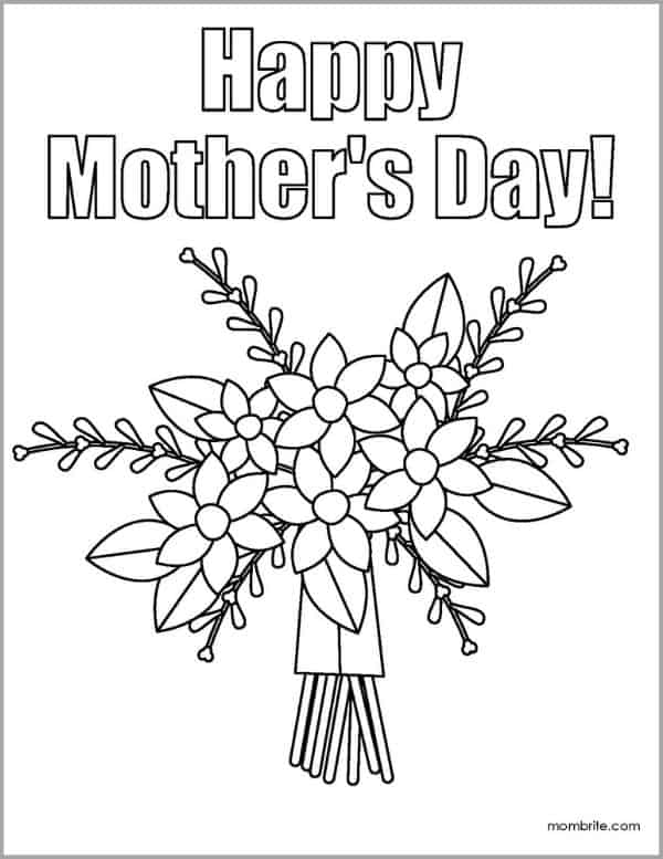 Mother's Day Coloring Page with Flower Bouquet
