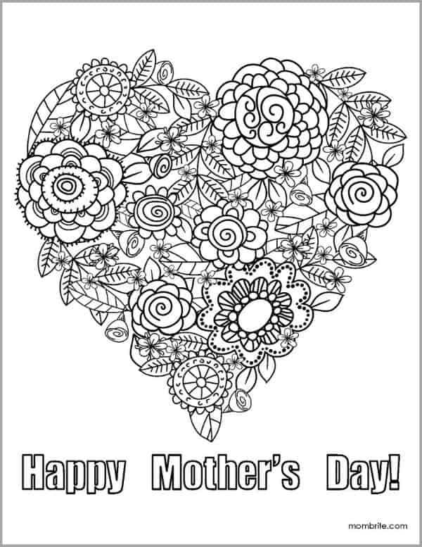 Mother's Day Coloring Page with Flower Heart