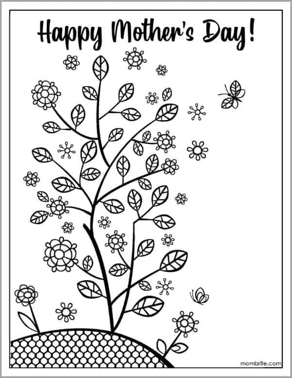 Mother's Day Coloring Page with Growing Plants