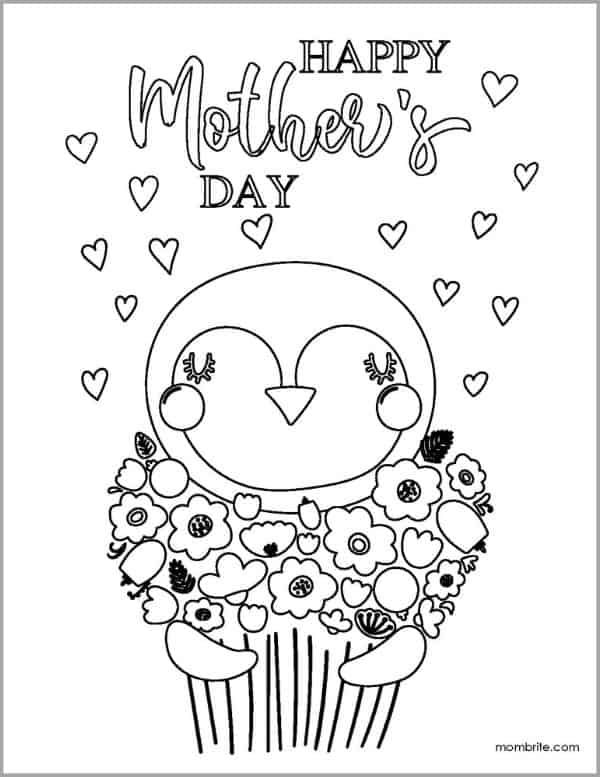 Mother's Day Coloring Page with Penguin