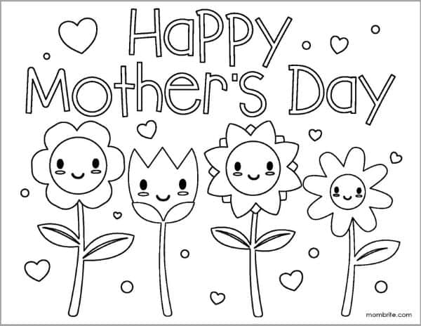 Mother's Day Coloring Page with Smiling Flowers