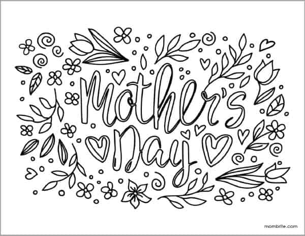 Mother's Day Coloring Sheet with Flowers and Leaves