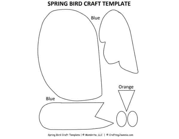 Paper Bird Craft Template Mockup