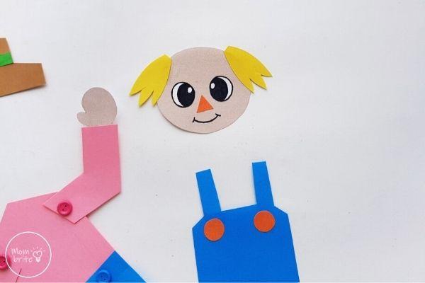 Paper Scarecrow Craft Assemble Face