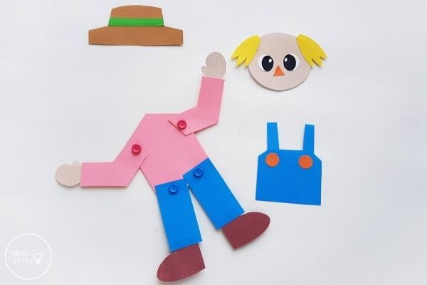 Paper Scarecrow Craft Attach Arms with Brad Pin
