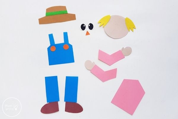 Paper Scarecrow Craft Glue Buttons Hat and Shoes