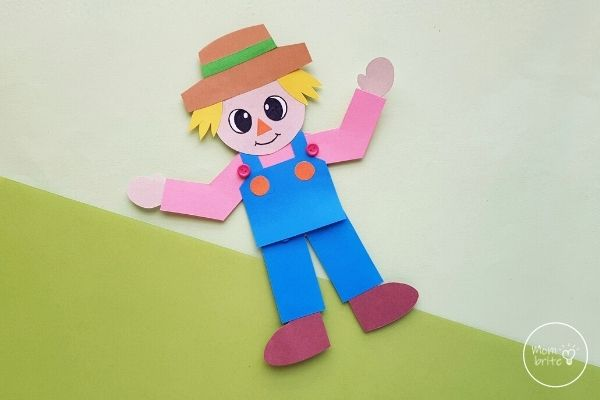 Paper Scarecrow Craft on Green Background