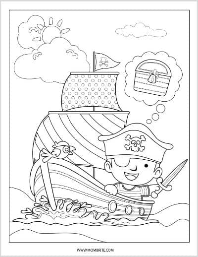 Pirate Finding Treasure Coloring Page