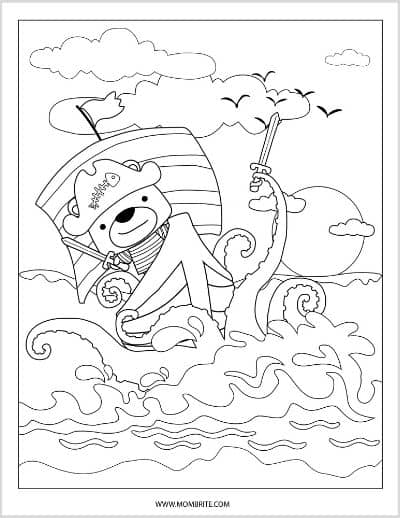 Pirate Ship and Sea Monster Coloring Page