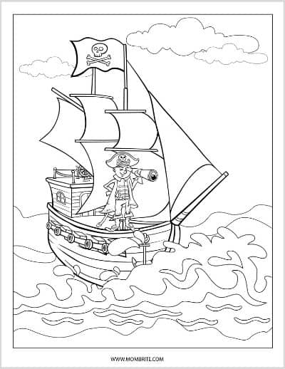 Pirate with Binocular Coloring Page