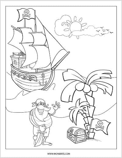 Pirate with Loot and Ship Coloring Page