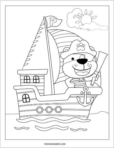 Pirate with Nautical Telescope Coloring Page