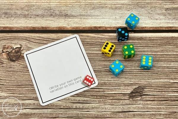 Tenzi Dice Game Blank Card