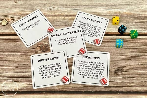 Tenzi Game Card Deck Examples