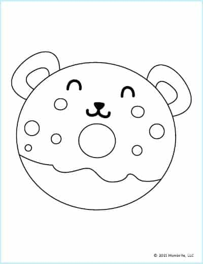 Bear Donut Coloring Page
