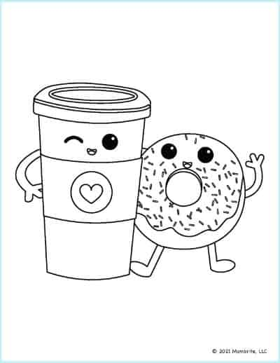 Best Friend Coffee and Donut Coloring Page
