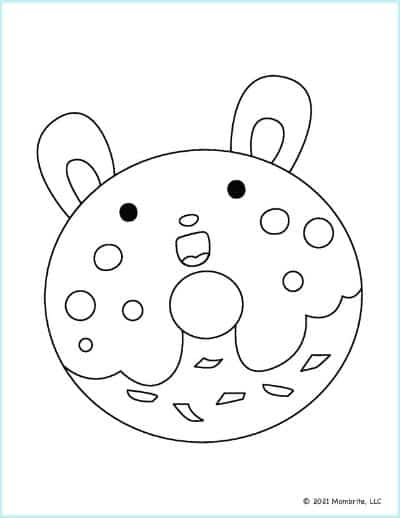 Bunny Donut Coloring Page