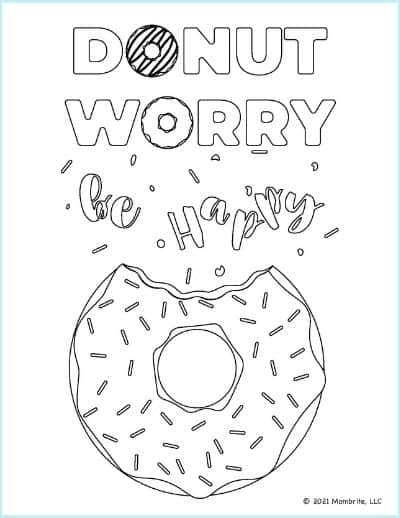 DONUT WORRY BE HAPPY Coloring Page