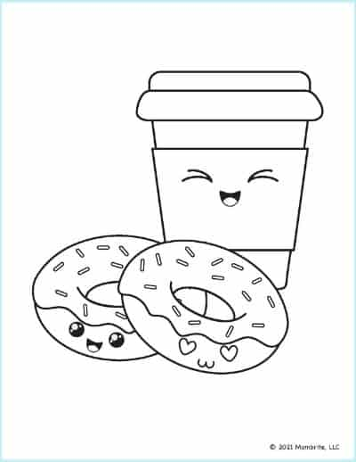 Donuts with Coffee Coloring Page