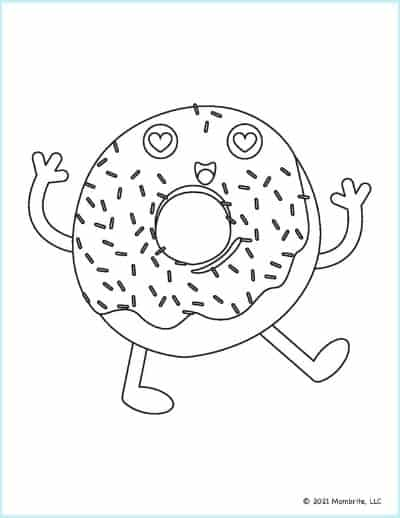 Happy Donut Coloring Page