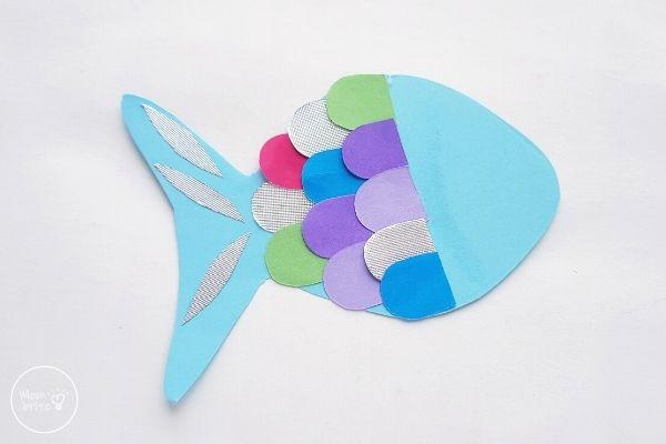 Paper Rainbow Fish Craft Finish Gluing Scales