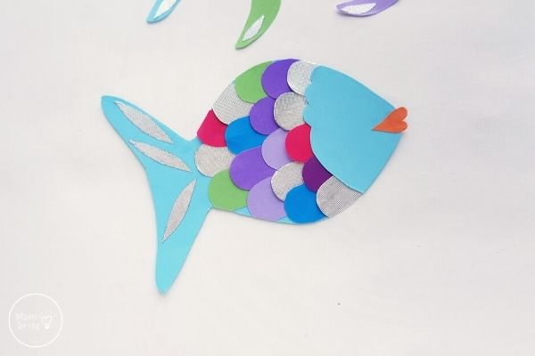 Paper Rainbow Fish Craft Glue Face to Body