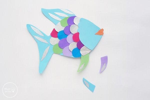 Paper Rainbow Fish Craft Glue Fins to Body