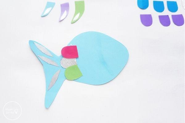 Paper Rainbow Fish Craft Start Gluing Scales