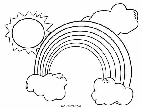Rainbow Coloring Page with Sun and Clouds