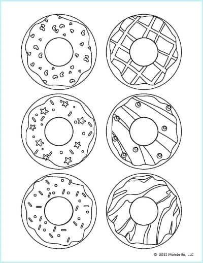 Half Dozen Donuts Coloring Page