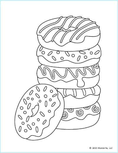 Stack of Donuts Coloring Page