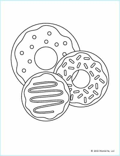 Three Donuts Coloring Page