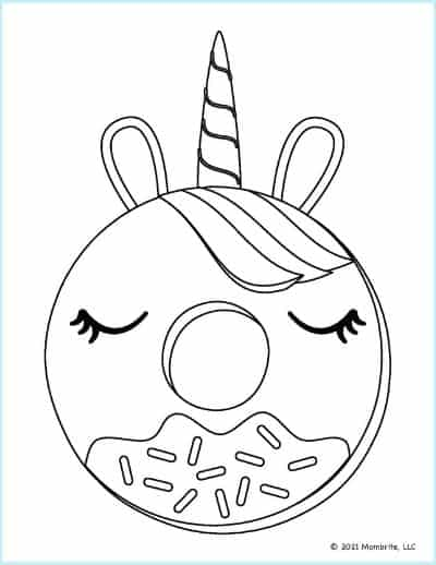 Unicorn Donut Coloring Page